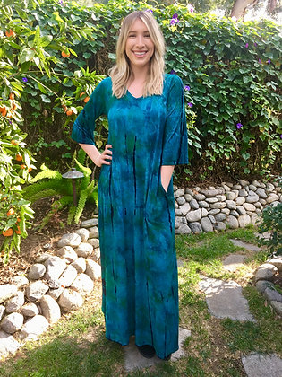 D 258 Blue Green & Black Maxi W/Pockets