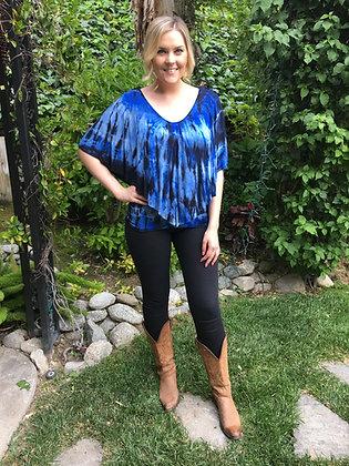 T 449 Royal Blue W/Black Crochet Back Poncho Top