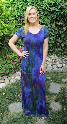 D 084 Multi Blue Cap Sleeve Maxi Dress S M L