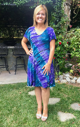 D 238 Teal Purple W/Black Flutter Sleeve Dress