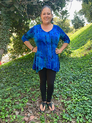 T 621 Multi Blues with Purple V Neck Tunic Top