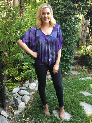 T 461 Purple & Black Crochet Back Poncho Top