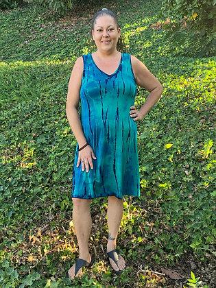 D 706 V Neck Turquoise Green & Black
