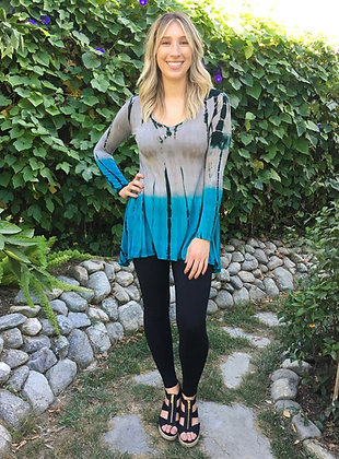 T 598 Turquoise Gray & Black Long Sleeve Tunic