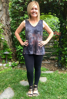 T 558 Gray & Black Gather Back Top S M XL 2X only