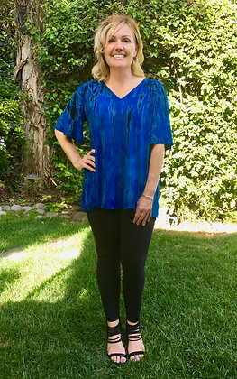 T 549 Blue & Black Drape Gather Back V Neck S M L XL