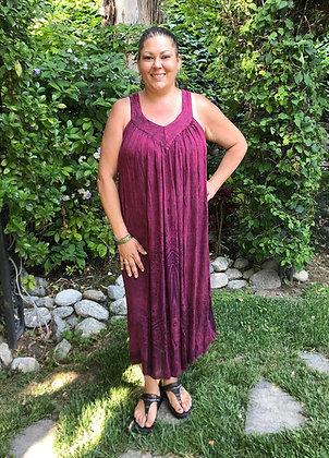 D 262 Maroon Cotton Gauze Summer Dress