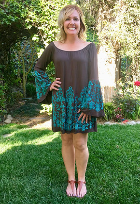 T 540 Brown Turquoise Western Top/Dress