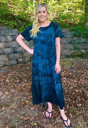 D 197 Shades of Teal & Brown Tea Length Cotton Dress