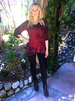 T 497 Rich Red Loose Sleeve  3X or 4X only