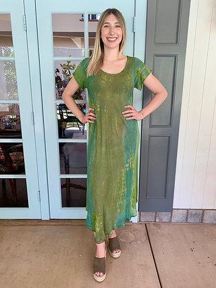 D 272 Green Cotton Gauze Short Sleeve Dress