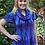 Thumbnail: S 612 Cotton Blue, Turquoise, Purple & Black Scarf