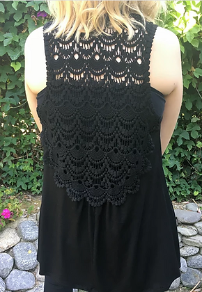 V 281 Solid Black Crochet Back Vest