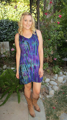 D 097 Multi Purple Tank Dress