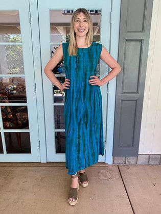 D 269 Turquoise Green & Brown Tea Length Cotton Tank Dress XL Only