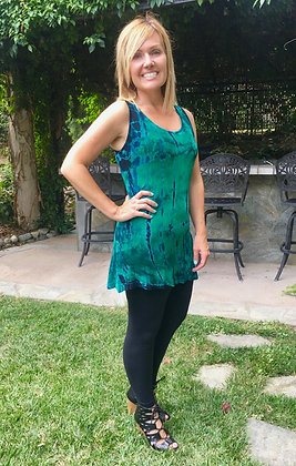 T 572 Emerald Green & Black Tank Top
