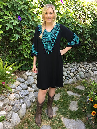 D 126 Black & Turquoise Bell Sleeve 2X 3X