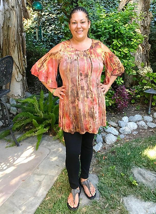 T 597  Rust & Brown Open Shoulder Ruffle Sleeve Top
