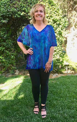 T 548 Purple Blue & Black Drape Gather Back V Neck