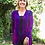 Thumbnail: C 316 Fuchsia Purple W/Black Panel Back Cardigan S/M or L/XL