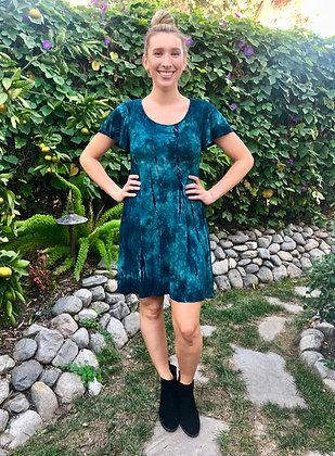 T 604 Green Teal W/Black Flutter Sleeve Dress