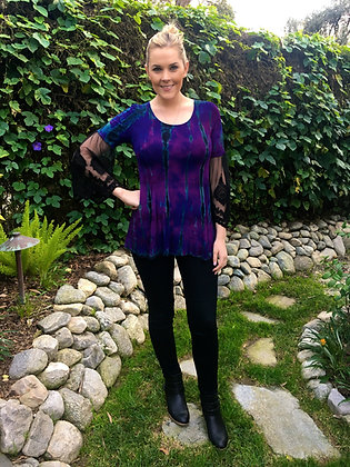T 492 Multi Purple W/Black Lace Sleeve Tunic S M L