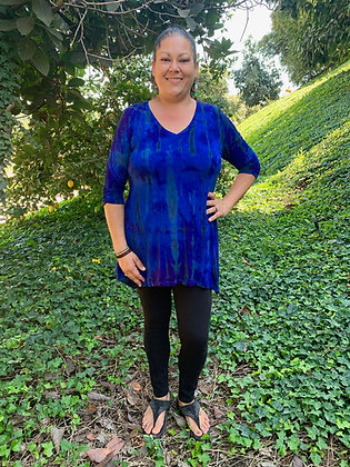 T 620 Royal Blue Purple & Black V Neck Tunic