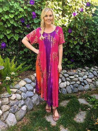 D 185 Fuchsia Purple & Orange Cotton Gauze Dress