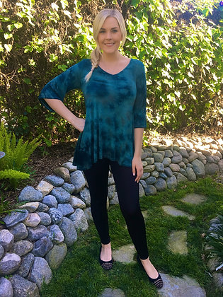 T 499 Turquoise, Teal & Brown Loose Sleeve Top