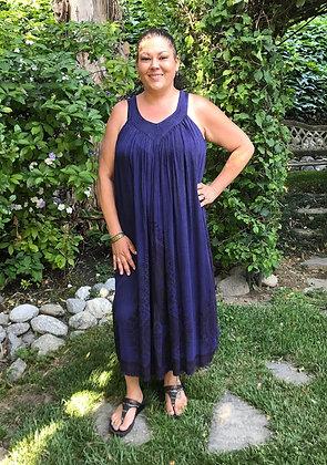D 261 Purple Navy Cotton Gauze Summer Dress