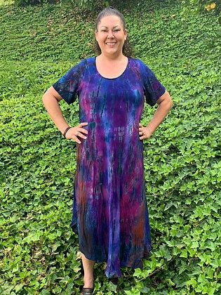 D 700 Blue Purple & Pink Cotton Gauze Dress