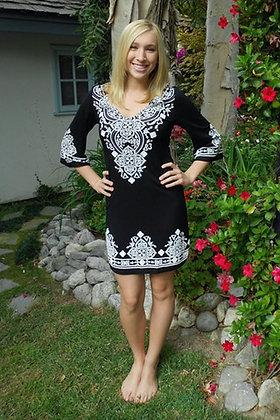 D 010 3/4 Black White Stitch Dress XS S M L