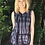 Thumbnail: T 453 Black Gray & White Cotton Tank Top Lace Insert S M L