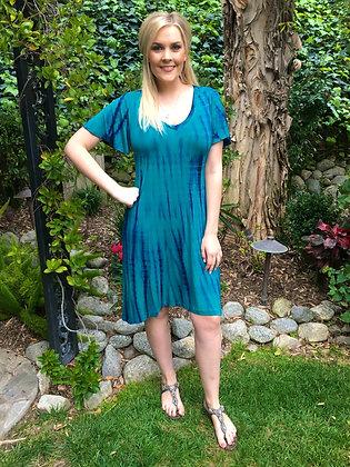 D 168 Blue & Purple V Neck Dress S M