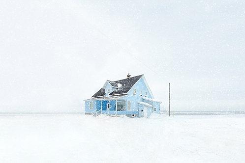 Angled blue house