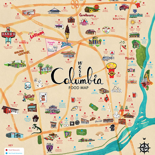 West Columbia Food Map (Physical Map)