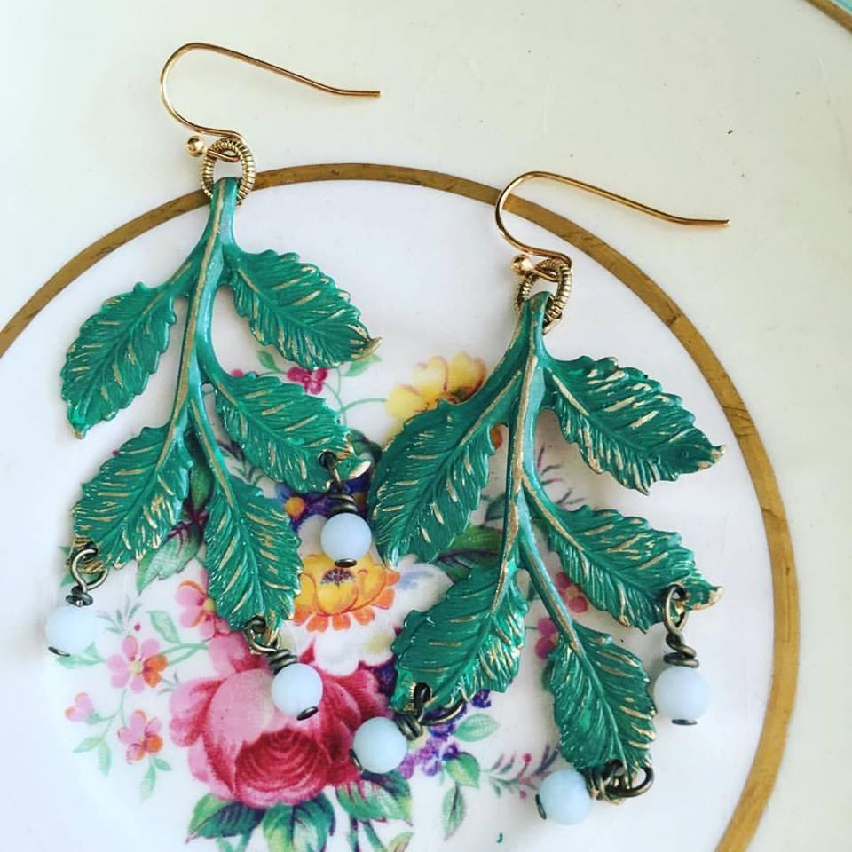 hand-painted birch leaf earrings