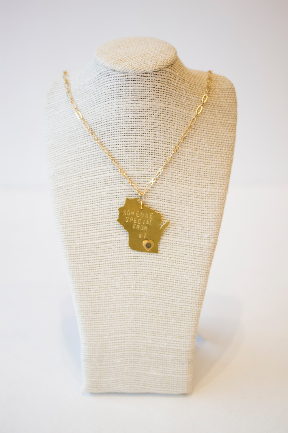 Wisconsin Stamped Necklace