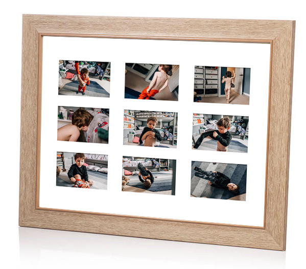 framed mat with nine images of boy getting himself dressed in the morning