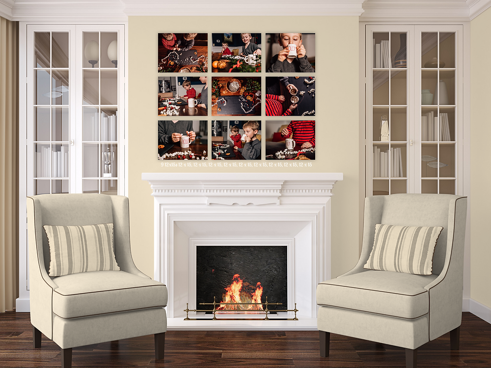 A series of Christmas hot cocoa photos hung on the wall as a storytelling collage