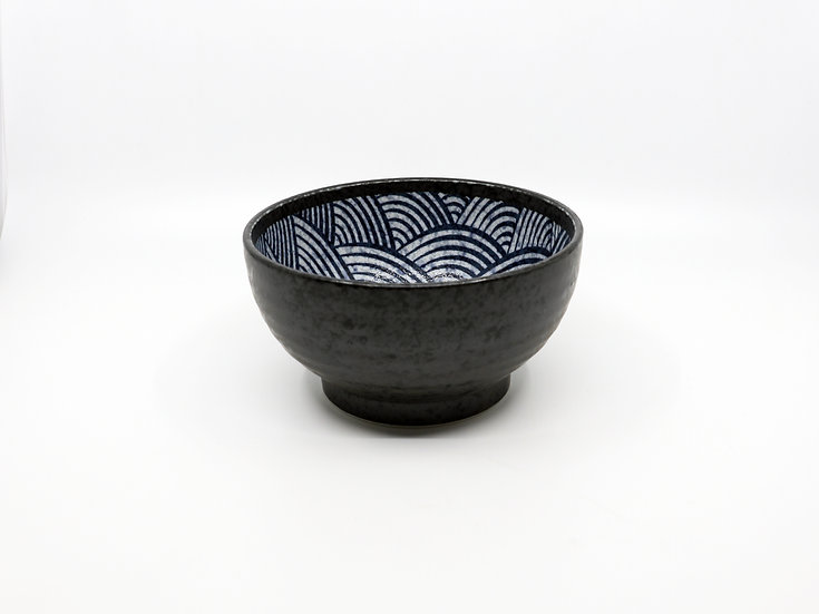 Kakuni Pottery Wave Donburi Bowl