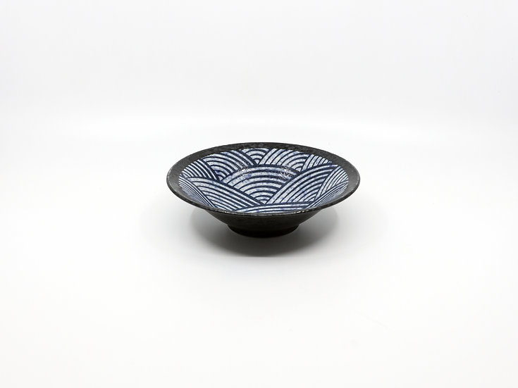 Kakuni Pottery Aomi Wave Deep Plate 50Bowl