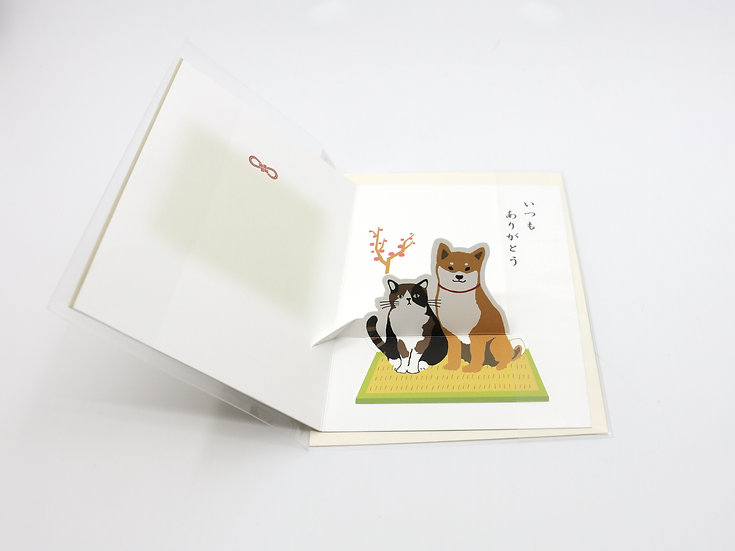 Thank you Pop-up Card Shibatasan/Cat