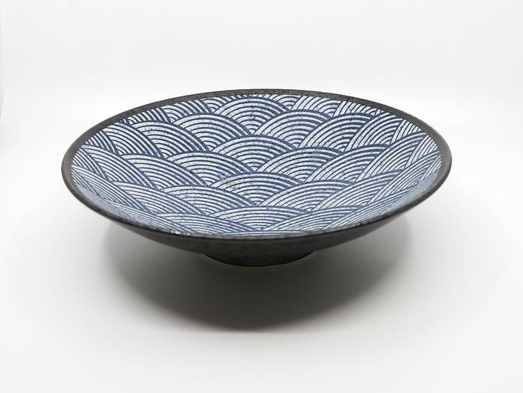 Kakuni Pottery Aomi Wave Deep Plate 90Bowl
