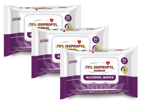 70% Isopropyl Alcohol First Aid Antiseptic 150 Wipes ( 50 per pack x  3 Packs )
