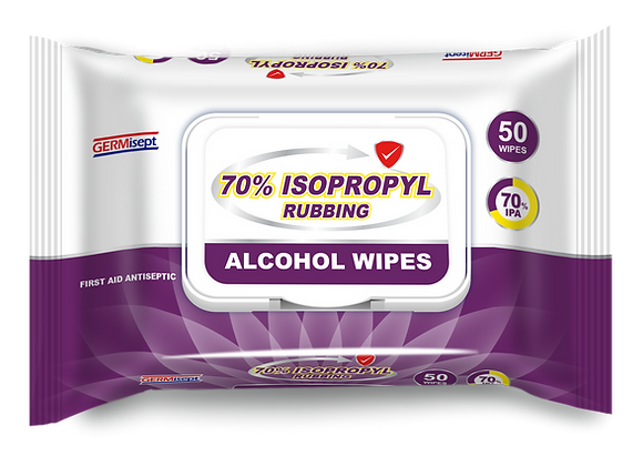 Germisept 70% Isopropyl Alcohol First Aid Antiseptic 50 Count Pack