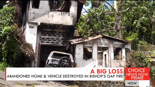 An abandoned home and vehicle destroyed in Bishop's Gap fire