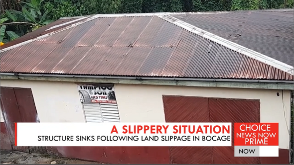 Structure sinks following land slippage in Bocage.