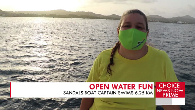 Woman swims distance of almost 7 kilometres in open water.