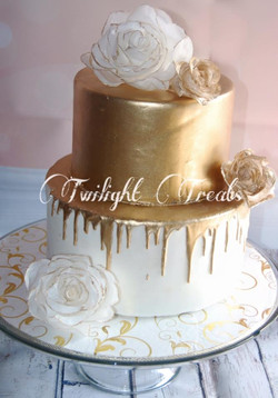 Gold Anniversary Drip Cake
